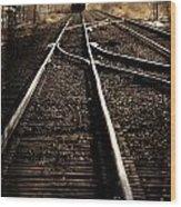 Antiquetrain On Tracks Wood Print