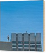 Antony Gormley Sculpture On London Rooftops  Wood Print
