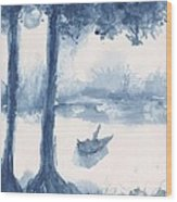 Antwerp Blue Landscape Watercolor Wood Print