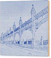 Antwerp Railway Bridge Blueprint Wood Print