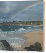Anuenue - Aloha Mai E Hookipa Beach Maui Hawaii Wood Print