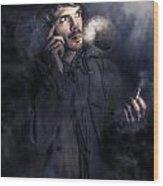 Anxious Australian Sas Soldier On Night Watch Wood Print