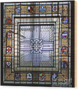 Anzac Day 2014 Auckland War Memorial Museum Stained Glass Roof Wood Print