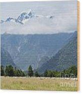 Aoraki Mt Cook Highest Peak Of Southern Alps Nz Wood Print