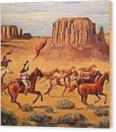 Apache Horse Hunters Wood Print