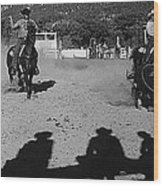 Apache Roping Cow Labor Day Rodeo White River Arizona 1969 Wood Print