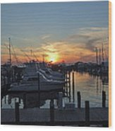 Apalachicola Marina At Sunset Wood Print