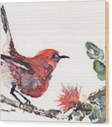 Apapane - Native Hawaiian Bird Wood Print