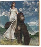 Ape And Girl Wood Print