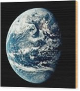 Apollo 11 Image Of Earth Showing Pacific Ocean Wood Print