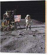 Apollo 16 Lunar Landing Astronaut Young Wood Print
