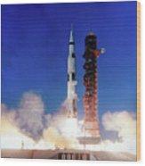 Apollo 8 Launch Wood Print