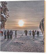 Apostle Islands Ice Cave Sunset Wood Print