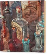 Apothecary - A Series Of Bottles Wood Print