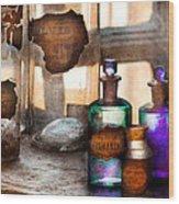 Apothecary - Oleum Rosmarini  Wood Print by Mike Savad