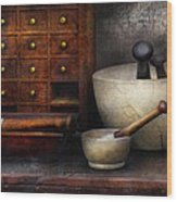 Apothecary - Pestle And Drawers Wood Print by Mike Savad