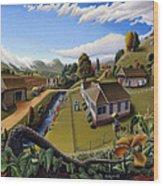 Appalachia Summer Farming Landscape - Appalachian Country Farm Life Scene - Rural Americana Wood Print