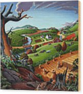 Appalachian Fall Thanksgiving Wheat Field Harvest Farm Landscape Painting - Rural Americana - Autumn Wood Print