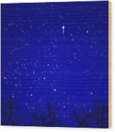 Appalachian Mountain Starry Night Wood Print by Thomas R Fletcher