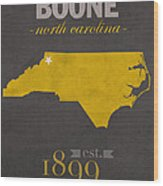 Appalachian State University Mountaineers Boone Nc College Town State Map Poster Series No 010 Wood Print