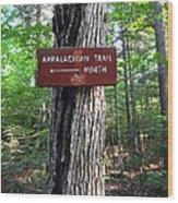 Appalachian Trail Sign North Wood Print