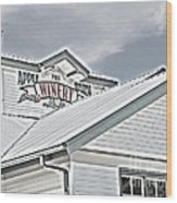 Apple Barn Winery Sign In Grayscale Wood Print