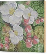 Apple Blossom Collage Wood Print