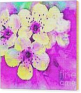 Apple Blossoms In Magenta -  Digital Paint Wood Print