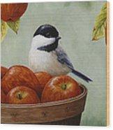 Apple Chickadee Greeting Card 1 Wood Print