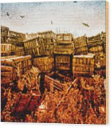 Apple Crates And Crows Wood Print
