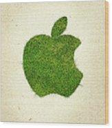 Apple Grass Logo Wood Print