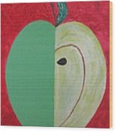 Apple In Two Greens 02 Wood Print