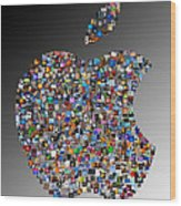 Apple Mosaic On Gradient Wood Print by Yury Malkov
