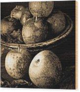 Apple Still Life Black And White Wood Print
