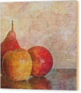 Apples And A Pear Wood Print
