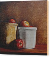 Apples And Jars Wood Print