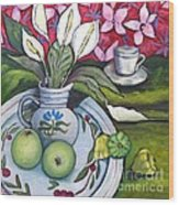 Apples And Lilies Wood Print