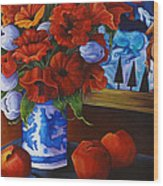 Apples And Poppies Wood Print