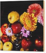 Apples And Suflowers Wood Print