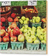 Apples At Farmer's Market Wood Print