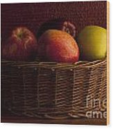 Apples In Basket Wood Print