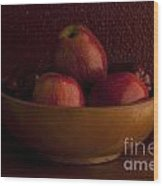 Apples In Bowl Still Life Wood Print