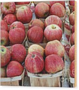 Apples In Small Baskets Wood Print