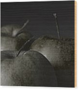 Apples Noir Wood Print