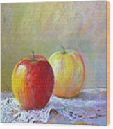Apples On A Table Wood Print