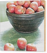Apples On The Table  Wood Print