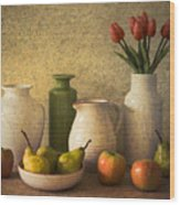 Apples Pears And Tulips Wood Print