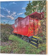 Appomattox Park Caboose Wood Print