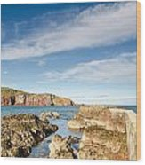 Approach To St Abbs Harbour Wood Print