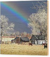 Approaching Storm At Cattle Ranch Wood Print